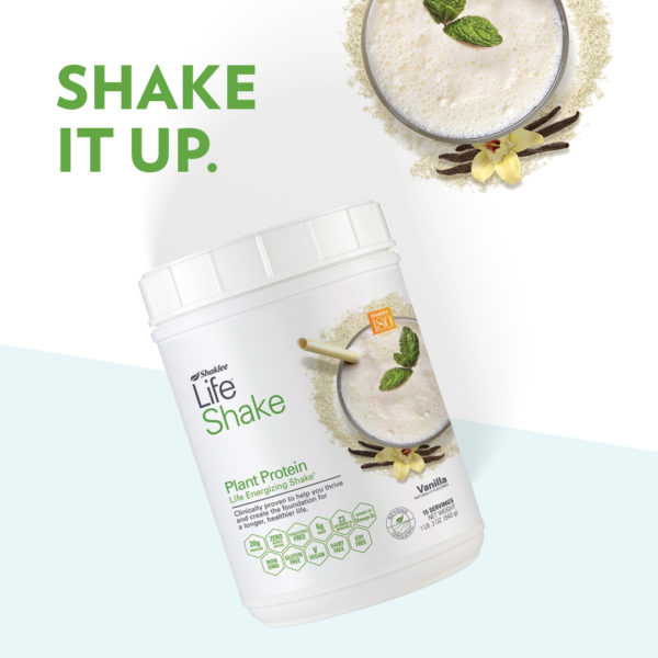 Life Shake Canister and Smoothie with Shake it Up Headline